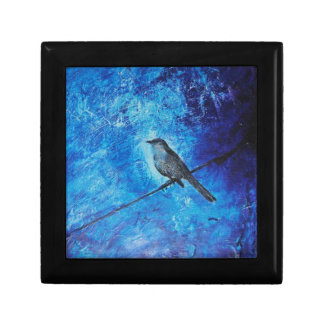 Textured acrylic painting of a blue bird in nature gift box