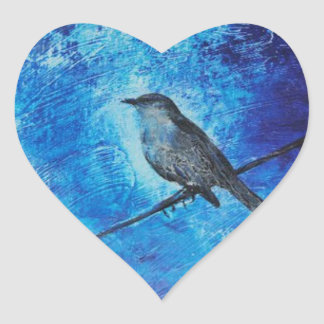 Textured acrylic painting of a blue bird in nature heart sticker