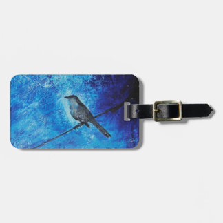 Textured acrylic painting of a blue bird in nature luggage tag