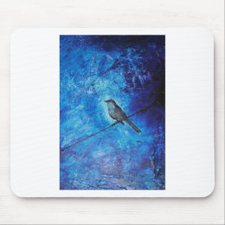 Textured acrylic painting of a blue bird in nature mouse pad