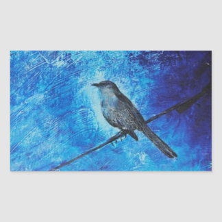 Textured acrylic painting of a blue bird in nature rectangular sticker