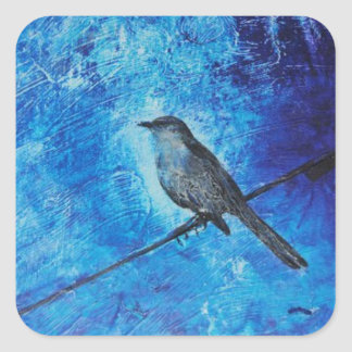 Textured acrylic painting of a blue bird in nature square sticker