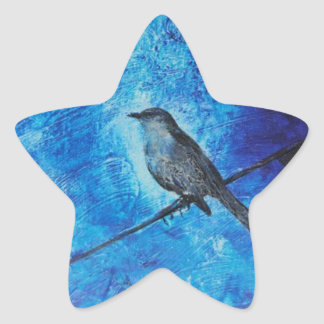 Textured acrylic painting of a blue bird in nature star sticker