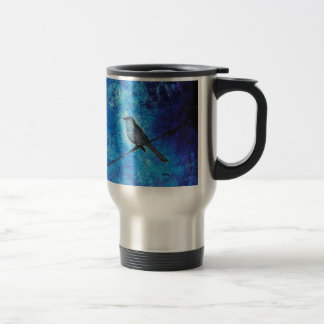 Textured acrylic painting of a blue bird in nature travel mug