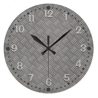 Textured Aluminum Look Wall Clock Faux Steel Metal