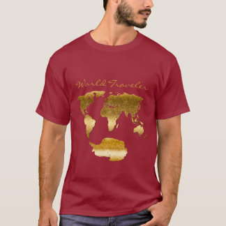 Textured and Metal-effect World Map w Antarctica T-Shirt