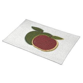 Textured Apples (white) Placemat Cloth Placemat