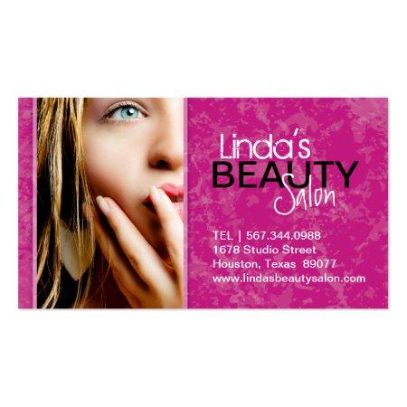 Pretty Blue Eyed Blond Woman Pink Textured Makeup Artist Business Cards