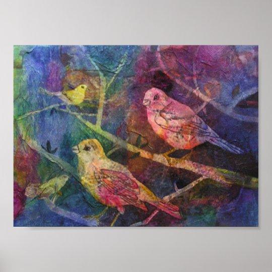 Textured Bird Scene Poster