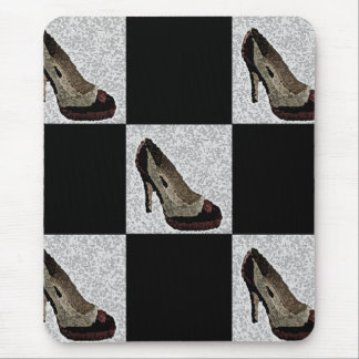 Textured Black & Red High Heels Mouse Pad