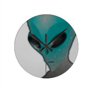 Textured blue grey alien round wall clock