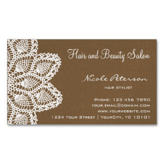 textured brown magnetic hair and beauty salon business card magnet