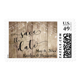 Textured Brown Wood, Light Strings Save the Date Postage