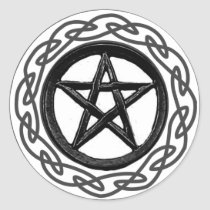 Textured Celtic Pentacle Classic Round Sticker