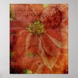 Textured Christmas Poinsettia Poster