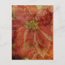Textured Christmas Poinsettia with Postmark Holiday Postcard
