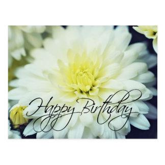Textured Chrysanthemum Happy Birthday Postcard