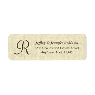 Textured Cream Name and Address Label Monogram