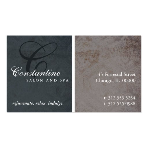 Textured Damask Monogram Appointment Card Business Card Template