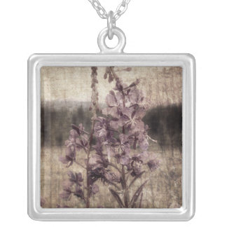 Textured Fireweed Silver Plated Necklace