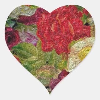 Textured Flower Garden Heart Sticker