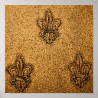 Textured French Fleur de Lis Posters