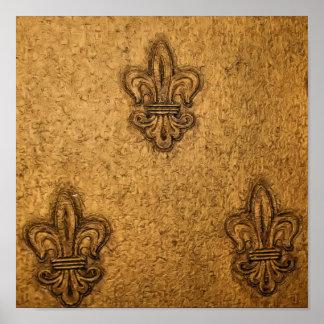 Textured French Fleur de Lis Print