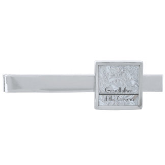 Textured Glass Custom GRANDFATHER OF THE GROOM Silver Finish Tie Bar