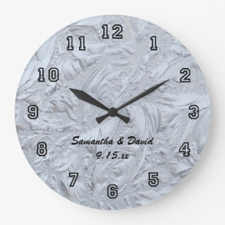 Textured Glass Personalized Wedding Large Clock