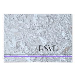 Textured Glass Purple Stripe RSVP Card
