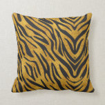Textured Gold With Black Zebra Pattern Pillow