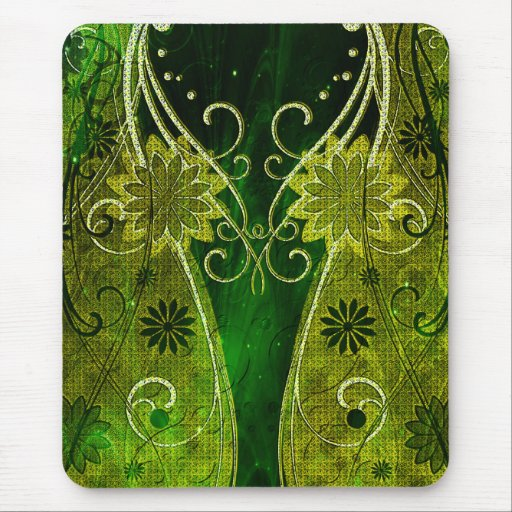 Textured Golden & Green Floral Swirls Mouse Pad