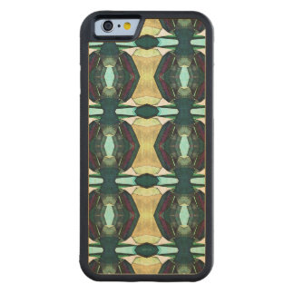 Textured Green Abstract Pattern Carved Maple iPhone 6 Bumper Case