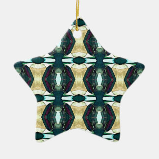 Textured Green Abstract Pattern Ceramic Ornament
