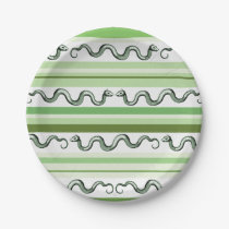 Textured Green and White Snakes and Stripes Paper Plate