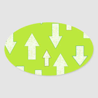 textured green arrow pattern oval sticker