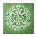Textured Green Celtic Art Curls Small Square Tile