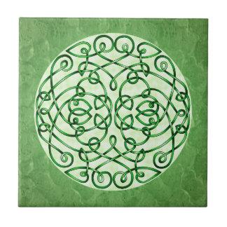 Textured Green Celtic Art Curls Ceramic Tiles
