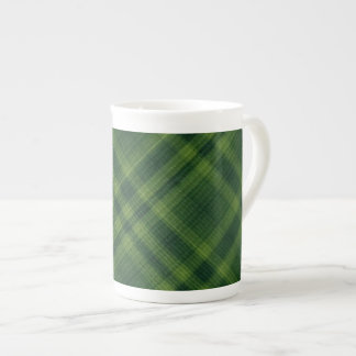 Textured Green Plaid Bone China Mug