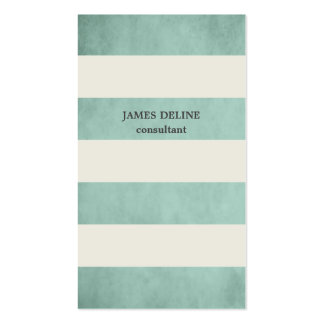 Textured Green Vintage Stripes Consultant Double-Sided Standard Business Cards (Pack Of 100)
