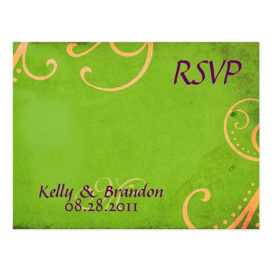 Textured Green w/Orange Swirls RSVP Postcard