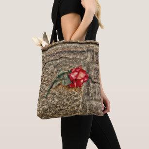 2e4e84fa0133 Textured Grunge Red Rose On Brick Wall Tote Bag
