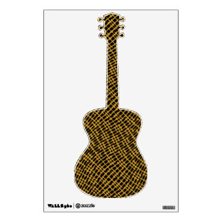 Textured Guitar Black Brown Graphic Line Pattern Wall Decor