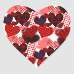Textured Heart Collage Heart Stickers