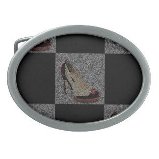 Textured High Heels Oval Belt Buckle