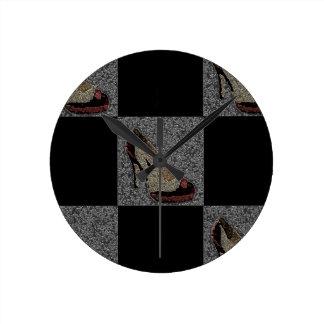 Textured High Heels Round Clock