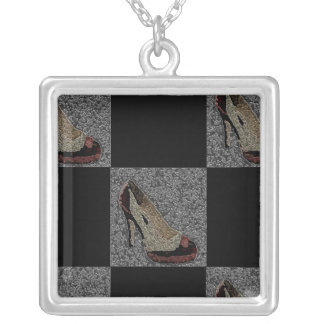 Textured High Heels Silver Plated Necklace