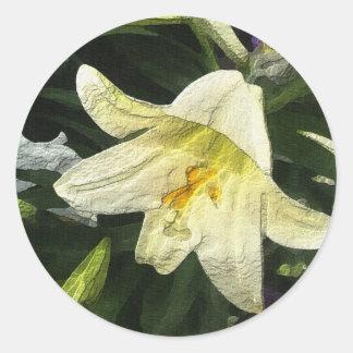 Textured Lilly Classic Round Sticker