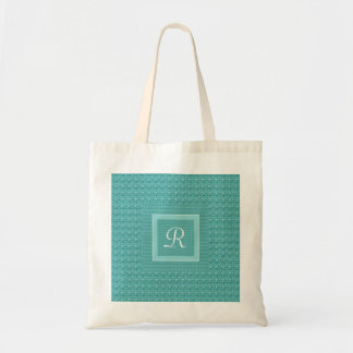 Textured look Turquoise Monogram (Letter R) Tote Bag