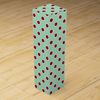 Textured Maroon Polka Dots on Mint Green Wine Box